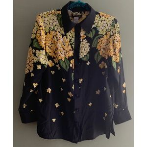 Bob Mackie wearable art silk floral blouse
